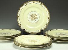 12pc Limoges Porcelain Service Plates La Cloche Ivory White Raised Design, Gilt