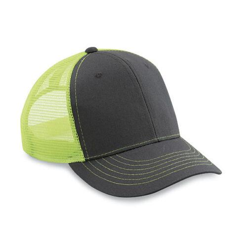 6 New Blank Twill//Mesh Trucker Hats Neon Yellow Charcoal Adjustable Nice