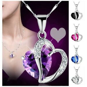 Women-Heart-Crystal-Rhinestone-Silver-Plated-Chain-Pendant-Necklace-Purple-Hot