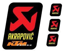 4 Adesivi Stickers AKRAPOVIC KTM RACING resistente al calore