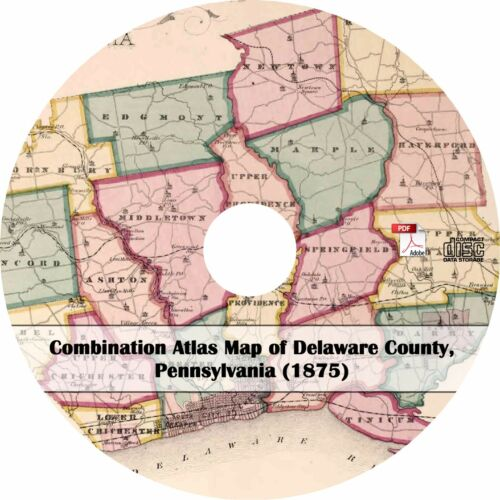 Pennsylvania Plat Maps Book on CD 1875 Atlas of Delaware County