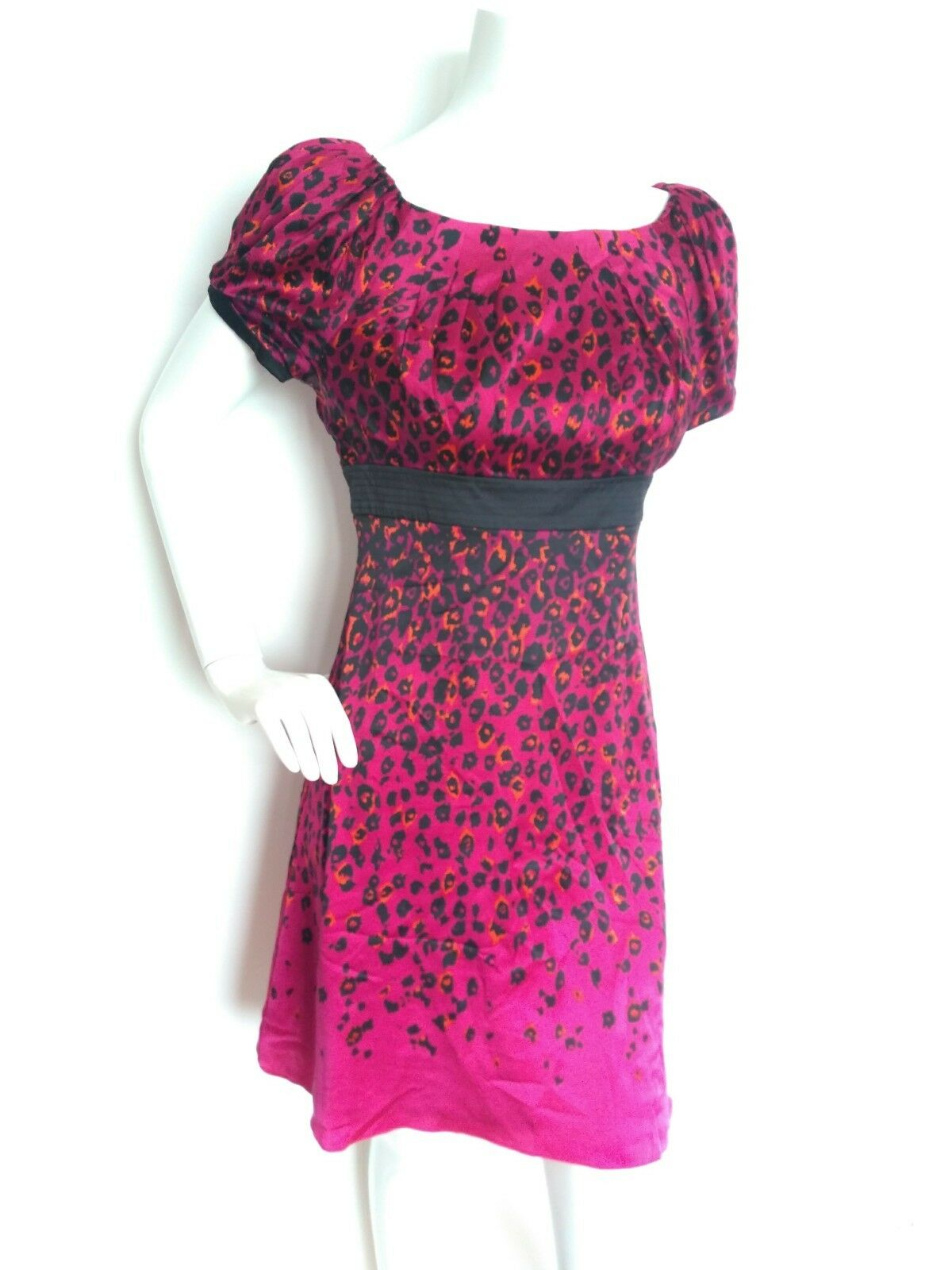 Diseñador De Seda con Estampado de de de Leopardo de Karen Millen Vestido Talla 12 -- nuevo -- detalle de arco 6522e0
