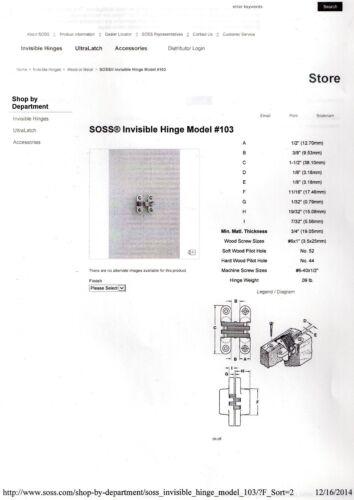 Satin Brass 1 1//2 In Invisible SOSS 103 US4PB Hinge