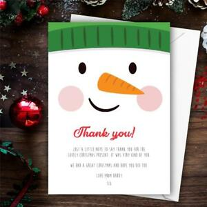 Christmas Thank You Cards.Details About 10 Personalised Childrens Christmas Thank You Cards Letters Cute Snowman