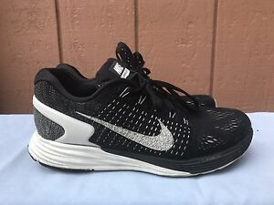 save off 201a4 906f5 Image is loading Nike-Lunarglide-7-Womens-Running-Shoes-Black-White-
