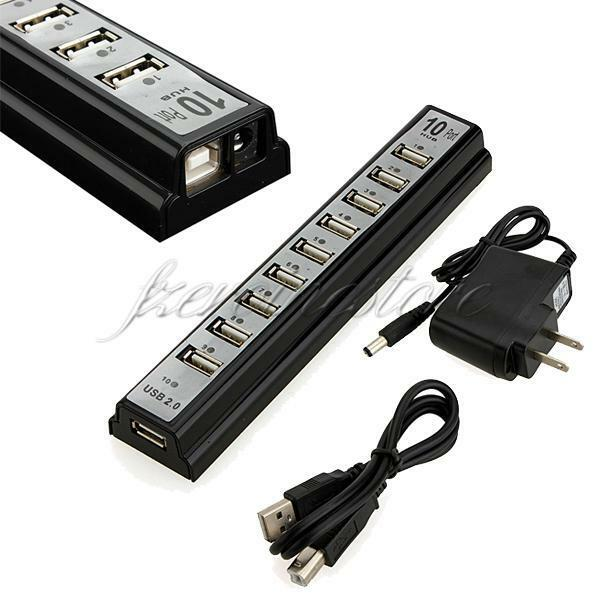 10 Port USB 2.0 HUB High Speed Splitter Adapter Charger for PC Laptop Cell Phone