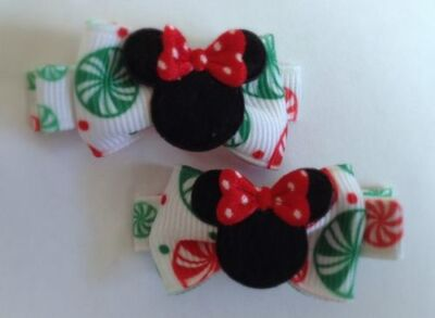 Boutique Hair Clips Bows Minnie Mouse Hot Pink Dots Bowtique Disney Dress Up