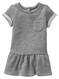 NWT-babyGap-Girls-Marled-Gray-Sweatshirt-Dress-Size-6-12-M-amp-18-24-M