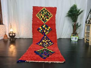 """Vintage Moroccan Handmade Runner Rug 2'9""""x8'4"""" Geometric Berber Red Wool Carpet"""