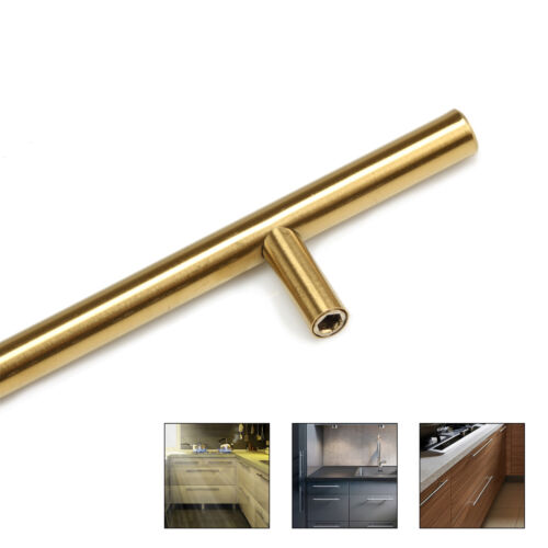 """Modern Gold Stainless Steel Home Kitchen Cabinet Handles T Bar Pull 2/"""" to 16/"""""""