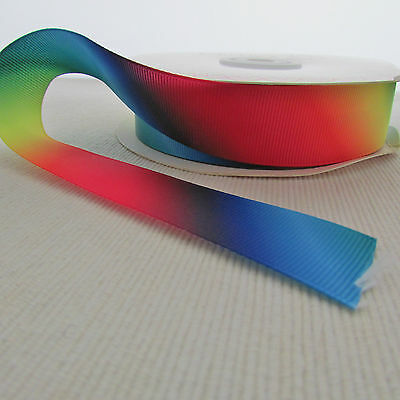 Rainbow ombre grosgrain craft & sewing ribbon per 2m - width choice