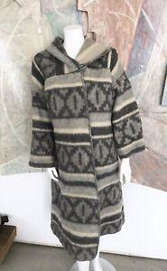 Vintage-Junior-Gallery-Wool-Womens-Navajo-Aztec-Poncho-Hooded-Coat-One-Size
