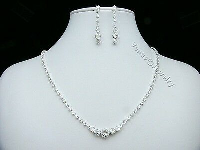 Bridal Wedding Prom Rhinestone Crystal Necklace Earrings set 1241