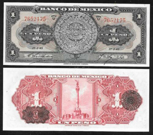 Mexico Paper Money 1945 Nice Unc P38c Old 1 Peso Note Condition