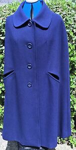 Azul-Marino-Vintage-con-capa-60s-Mod-tamano-12-14-Medio-Mezcla-De-Lana