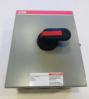 600vac,3phase,Aux Contacts ABB EOT100U3M1-P Enclosed Disconnect Switch;100 Amp
