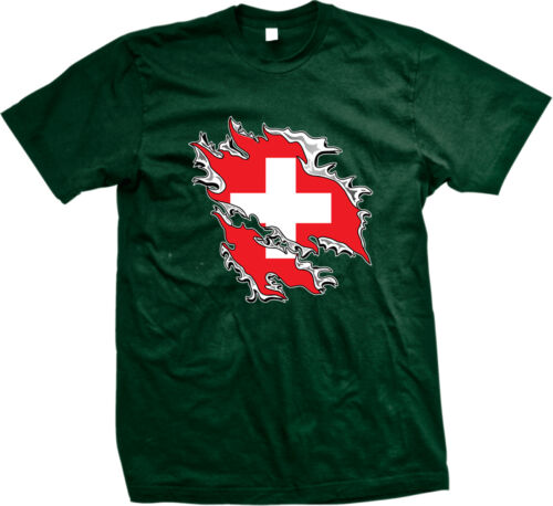 Switzerland Flag Rip Out Swiss Pride Schweiz Suisse Svizzera Svizra Mens T-shirt