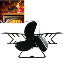 4Yourhome Black Bi-Plane Heat Powered Wood Log Burning Fire Mini Stove Top Fan