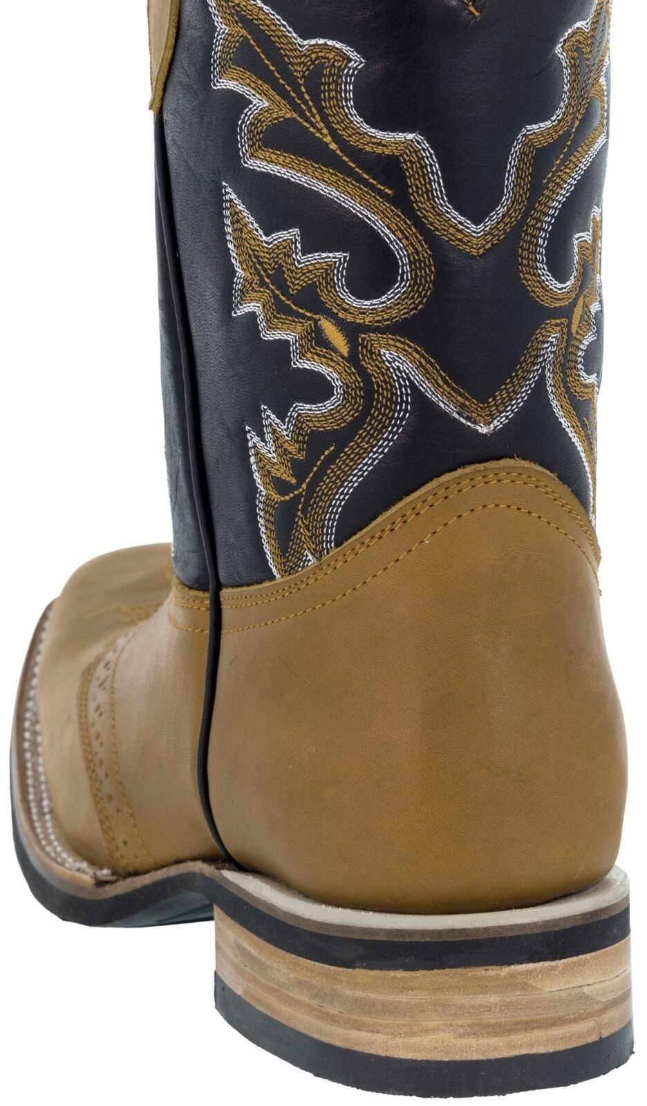 Mens Western Honey Leather Cowboy Style Saddle Boots Rodeo Toe Western Mens Wear 8af47e
