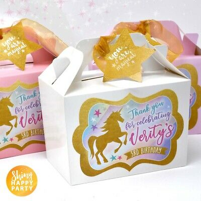 Personalised Unicorn Party Box Lunch Favour Gift Box Bag Pink /& White Children/'s