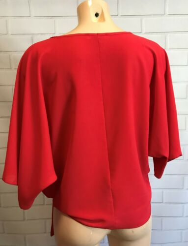 Red Batwing 3//4 Sleeves Tie Front Oversized Top Blouse Size S XL