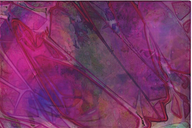 ACEO Abstract Painting Cellophane Fuchsia Original Miniature Art Penny StewArt