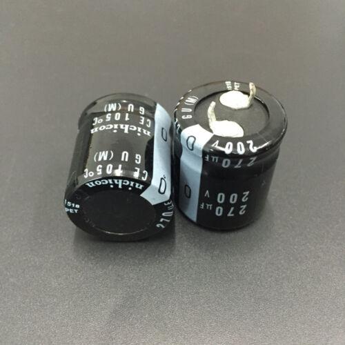 10pcs 270uF 200V Japan Nichicon GU  200V270uF Snap-in Capacitor 22x25mm