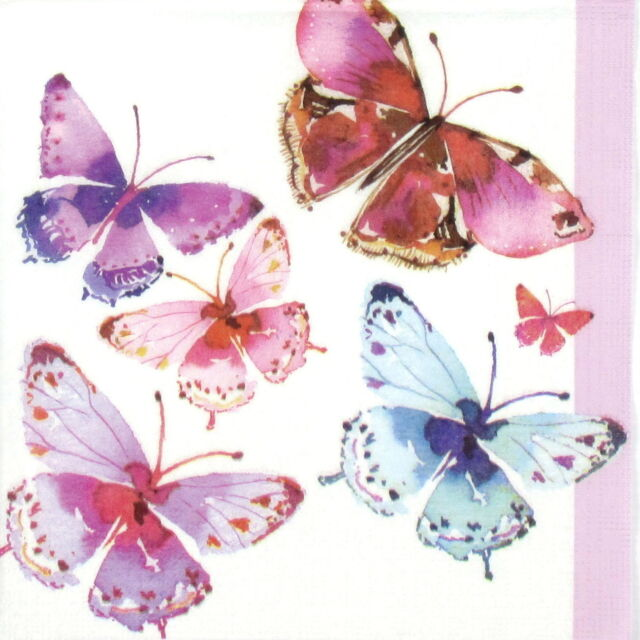 4 Single Table Paper Napkins for Party Decoupage Decopatch Painted Butterflies