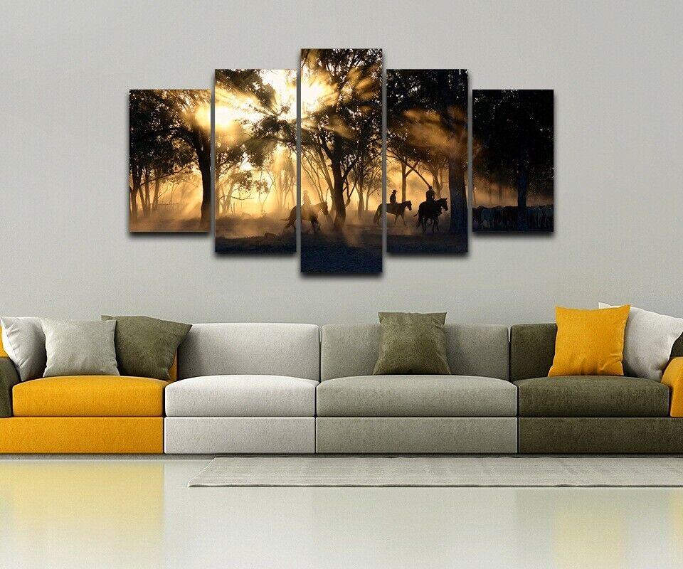 Ranch Horses Sun Trees Cattle Framed Canvas Home Decor Print Wall Art