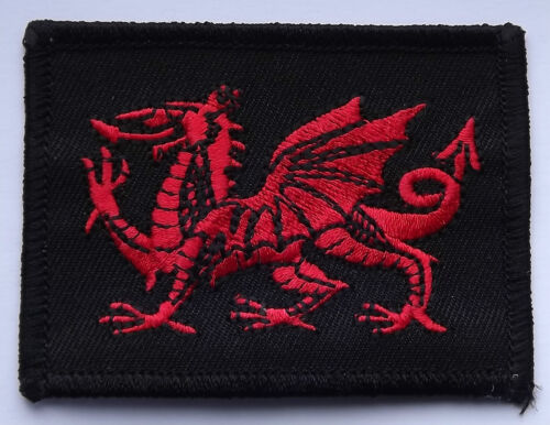 SEW ON EMBROIDERED PATCH BADGE FREE UK POSTAGE WALES DRAGON ON BLACK IRON