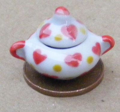Marchio Di Tendenza 1:12 Scala Bianco In Ceramica Sugar Bowl Con Un Motivo Cuore Tumdee Casa Delle Bambole W37h-mostra Il Titolo Originale