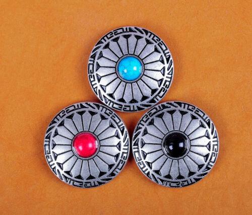 10X Turquoise Fleur Leathercraft Western Portefeuille Givré Argent Conchos Décoration