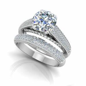 1.54 Ct Round Cut Moissanite Band Set 14K Real White Gold Wedding Ring Size 5.5