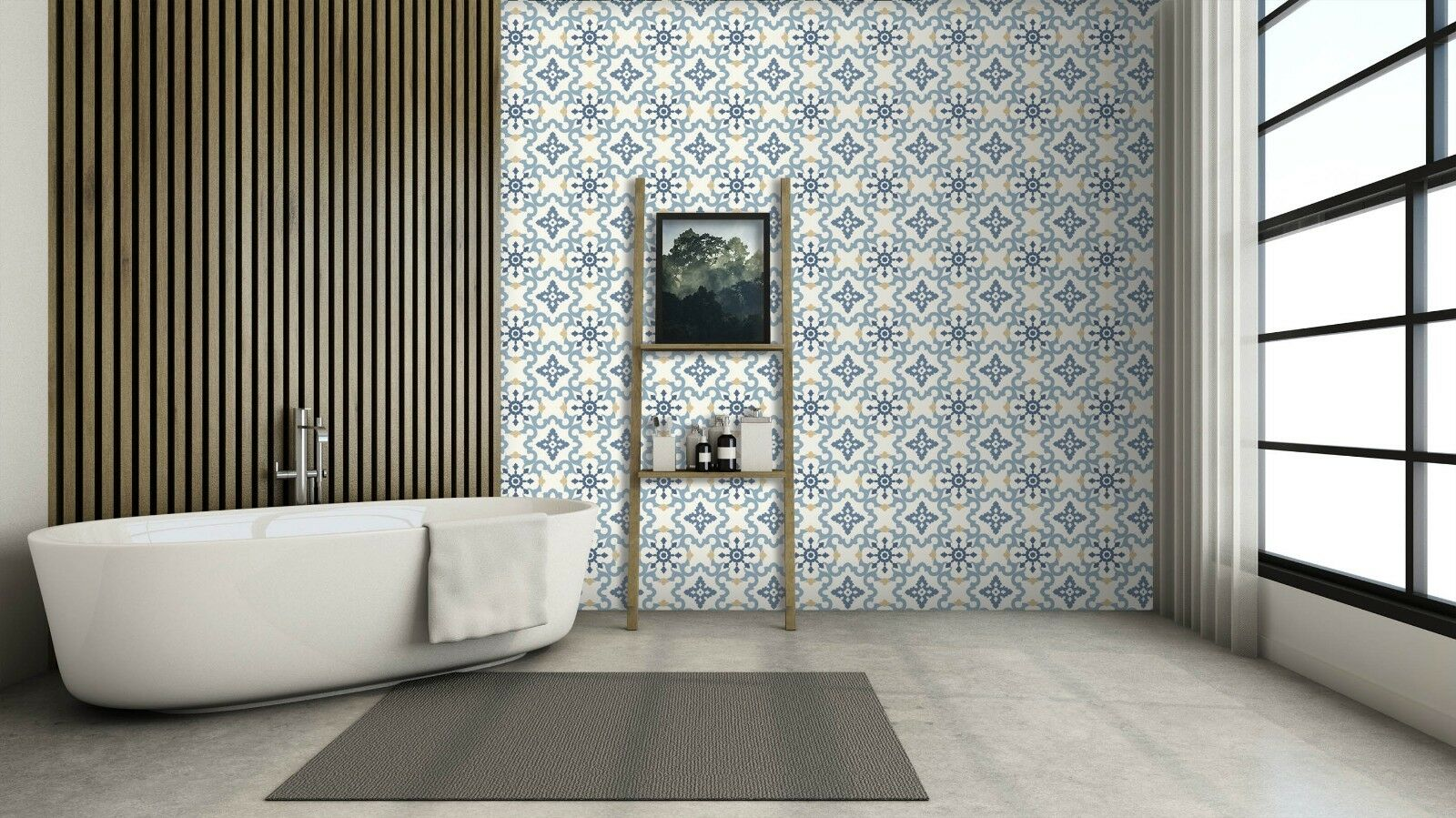 3D Blau Flower 81 Texture Tiles Marble Wall Paper Decal Wallpaper Mural AJ AU