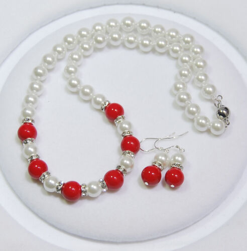 Earrings Set 8mm White Akoya Shell Pearl //10mm Red Coral Round Beads Necklace
