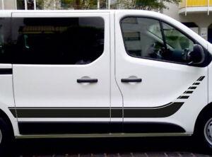 Opel-Vivaro-2-Seitenstreifen-Autoaufkleber-Rennstreifen-248-x-53cm-Farbauswahl