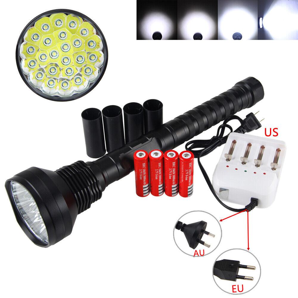 Poderoso 45000Lm 24 x XM-L T6 LED Linterna 5 modos luz táctica 4x 18650