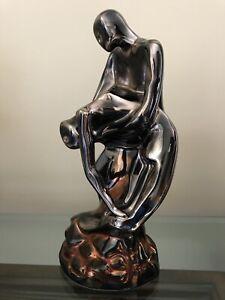Rare-Spain-Metallic-Glazed-Porcelain-Nude-Art-Figurine-Handmade-by-Axia-12-Exc
