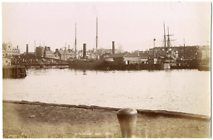 Ecosse-Scotland-Edimbourg-Edinburgh-Leith-docks-Vintage-albumen-print-T