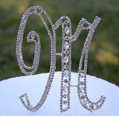 """5"""" Crystal Rhinestone Silver Cake Topper Letter Number Wedding Top Initials"""