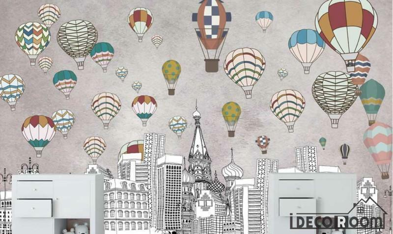 Nordic  geometric city building hot air balloon wallpaper wall murals