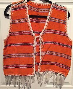 """Vtg 70s Hippie Fringed Orange Vest Ethnic Festival Boho Mexican Chest 38"""""""