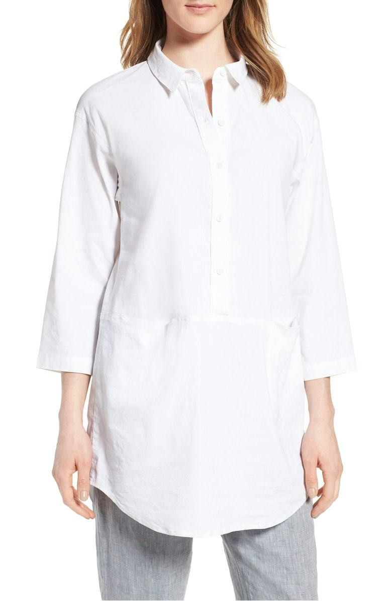 NEW Eileen Fisher Organic Linen Blend Tunic in White - Size PP