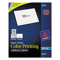 Avery Color Printing Mailing Labels 1 X 2 5/8 Matte White 600/pack 8250 on sale
