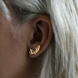 Personalized-Custom-Name-Cursive-Name-Earring-Ear-Stud-Christmas-Valentine-039-s-New