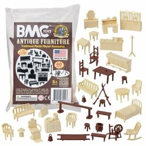BMC-Classic-Marx-Antique-Furniture-40pc-Dollhouse-Plastic-Playset-Accessories