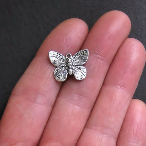 10 Butterfly Charms Antique Silver Tone 2 Sided SC318