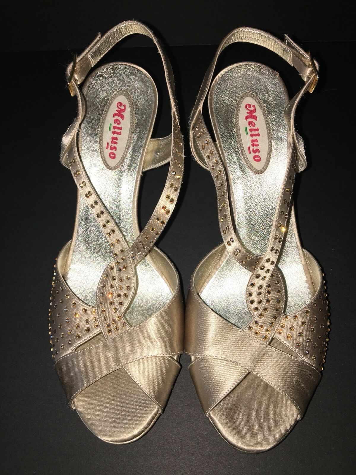 MELLUSO HEELS SOFT Gold SATIN LEATHER SLINGBACK W CRYSTALS SZ SZ SZ 38 MADE IN ITALY 66fcfd