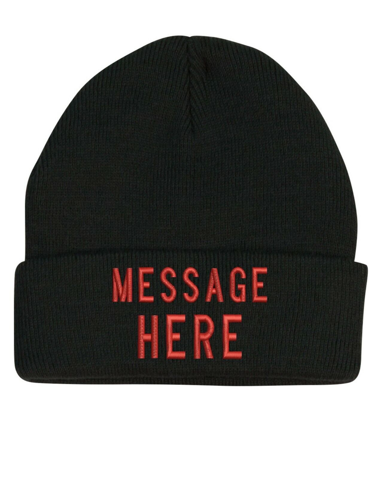 Black winter custom beanie with the folded part