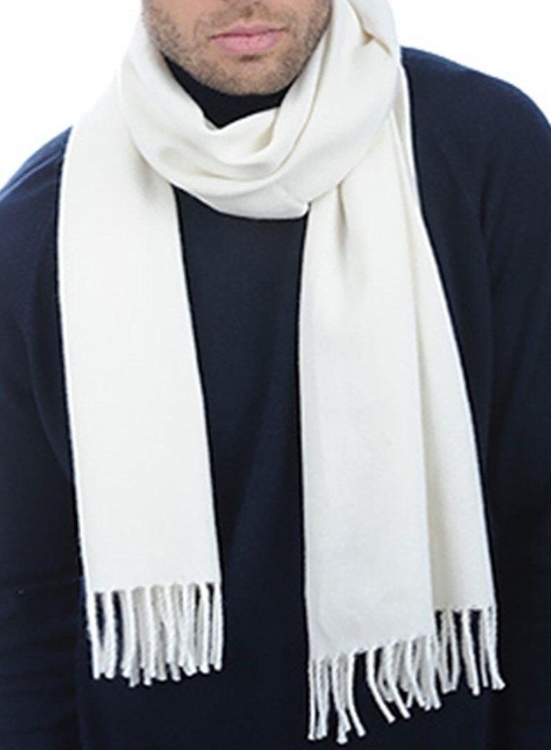 Balldiri 100% Cashmere Schal 200 x 35 cm 4-fädig gewebt weiß